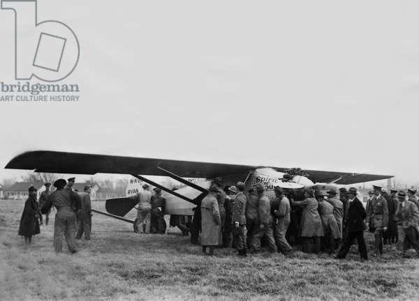 Charles Lindbergh's plane 'Spirit of St. Louis', 1927 (b/w photo)