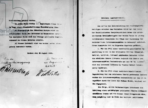 The secret protocol of the German-Soviet Non-Aggression Pact (the Hitler-Stalin Pact), August 23, 1939 (b/w photo)
