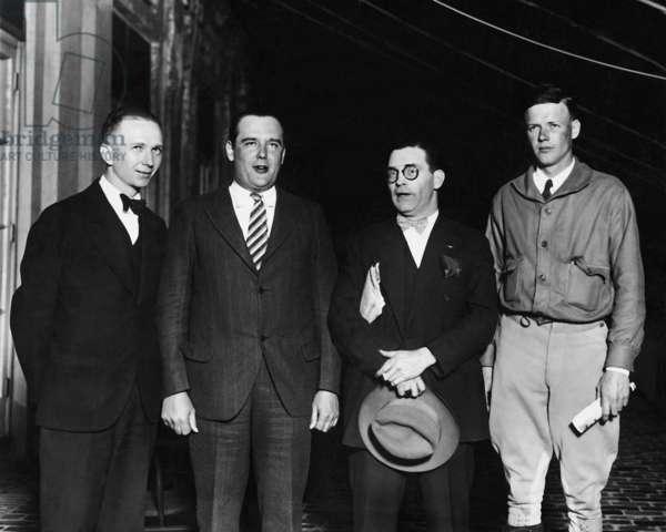 Clarence Chamberlin, Lloyd Bertaud, Lieutenant Neville and Charles Lindbergh, 1927 (b/w photo)