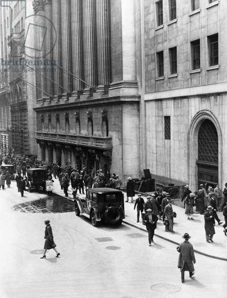 Stock market in New York, 1929 (b/w photo)