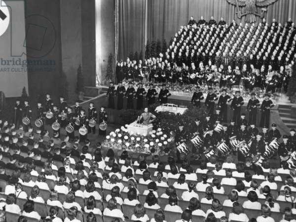 Joseph Goebbels speaking in the Ufa Palast, 1942