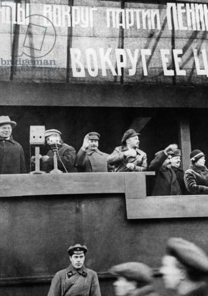 Stalin with Bukharin, 1929 (b/w photo)