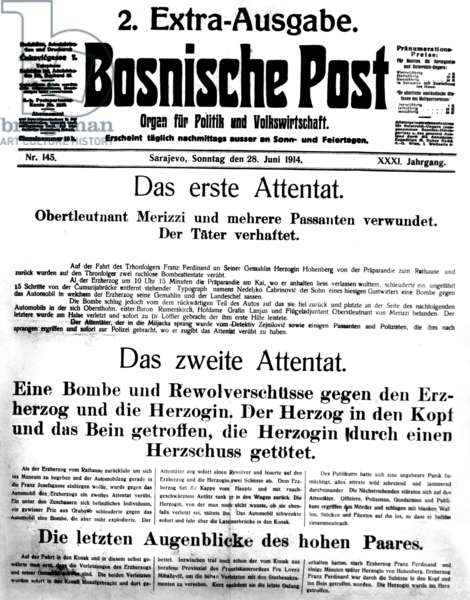Special edition of the Bosnian Post, 1914 (b/w photo)