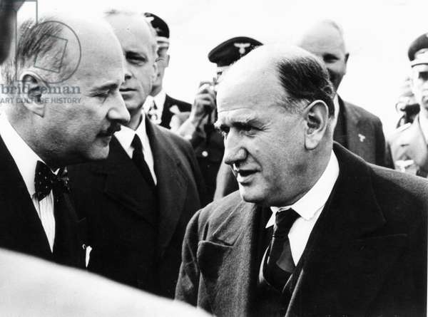 Andre Francois-Poncet greeting Edouard Daladier on his arrival at Oberwiesenfeld airfield, Munich, 1938 (b/w photo)
