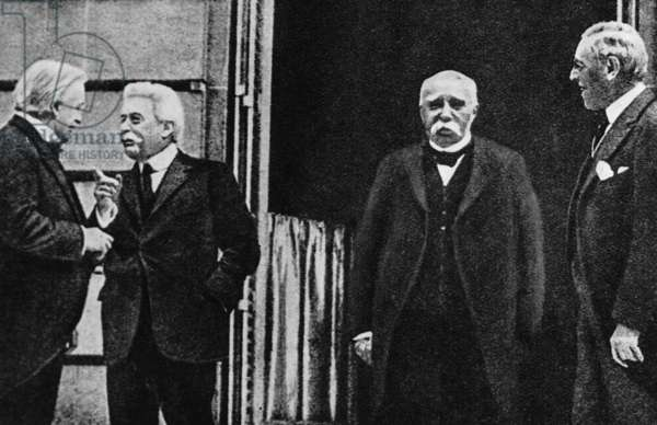 Lloyd George, Clemenceau, Orlando, Wilson during the Paris Peace Conference in 1919 (b/w photo)