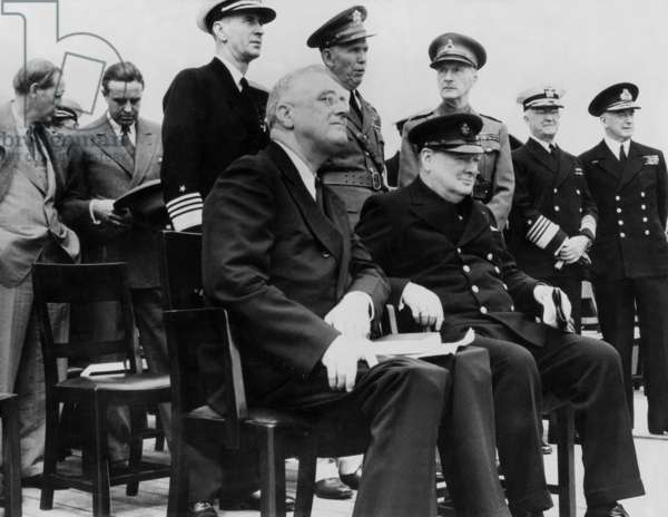 Winston Churchill and Franklin D. Roosevelt during the Atlantic Charter meeting, 1941 (b/w photo)
