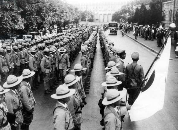 Japanese troops in Manchuria (b/w photo)