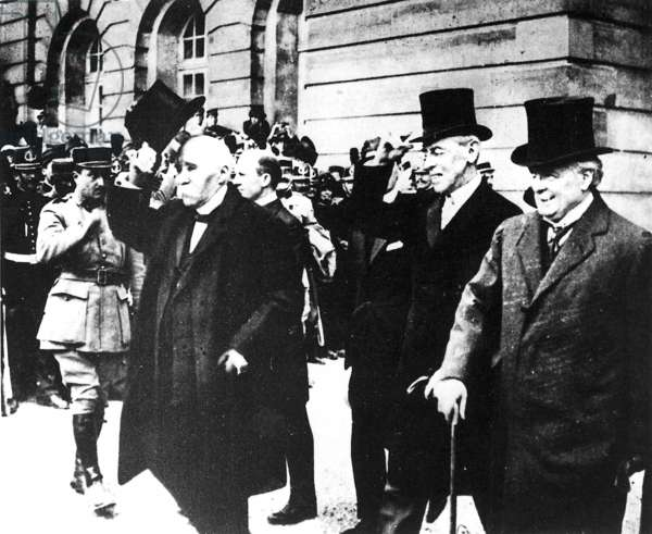 Clemenceau, Wilson, George after the signing of the Peace Treaty of Versailles (b/w photo)