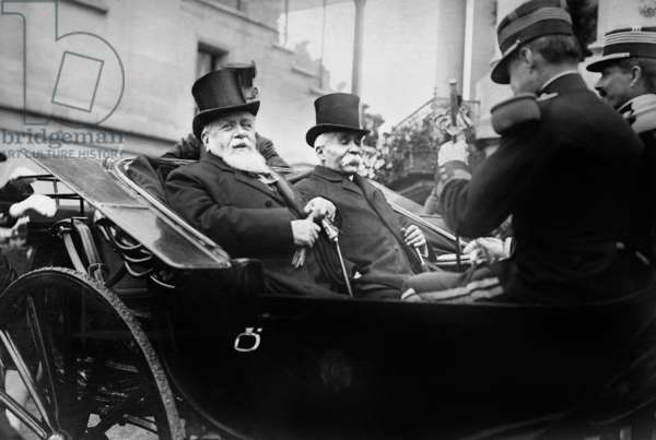 Armand Fallieres and Georges Clemenceau in Longchamps, 1909 (b/w photo)