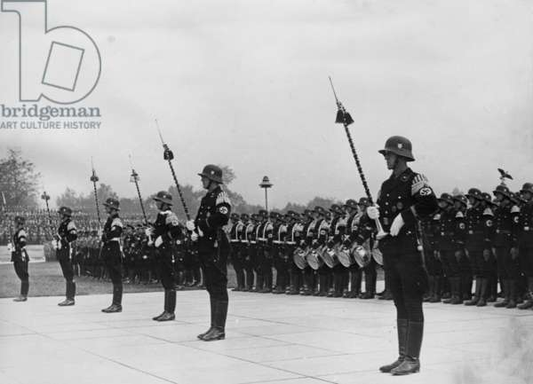 SS marching bands at the Nuremberg Rally 1937 (b/w photo)