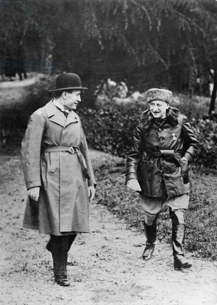 Benito Mussolini and Gabriele d'Annunzio in Gardone, 1935 (b/w photo)