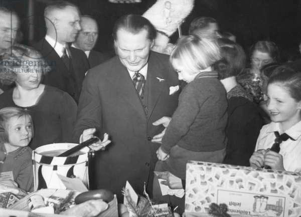 Hermann Göring with children, 1936 (b/w photo)