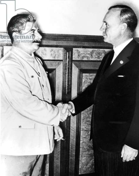 von Ribbentrop and Stalin after the conclusion of the Hitler-Stalin pact in Moscow, 1939 (b/w photo)