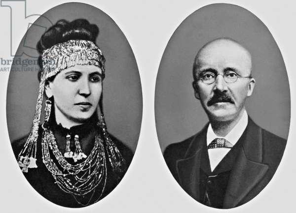Heinrich Schliemann and his wife Sophie Schliemann (b/w photo)