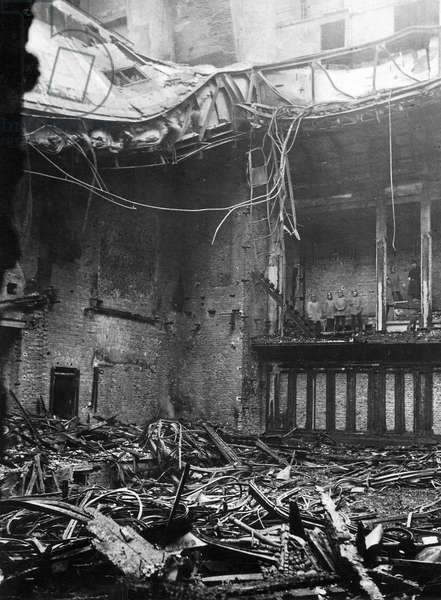 Chamber of the Reichstag after the fire, 1933 (b/w photo)