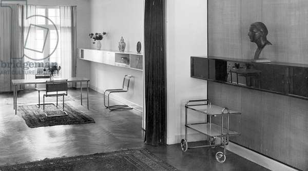 View of the dining room and music rooms, Hause Boroschek, Berlin, c.1920-29 (b/w photo)