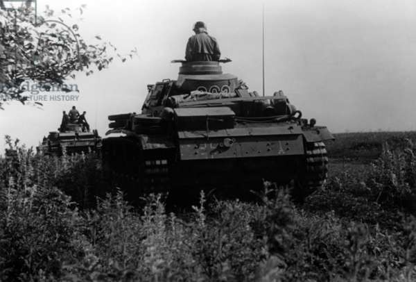Tank of the Wehrmacht on the way to Stalingrad, 1942