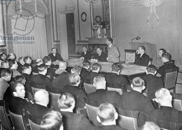 Joseph Goebbels at a meeting of the Reichskultursenat, 1936