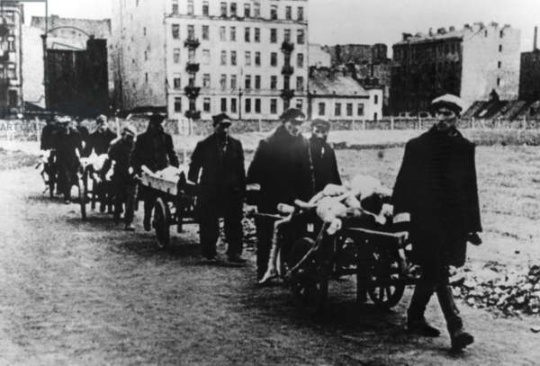 Funeral transport in the Warsaw Ghetto (b/w photo)