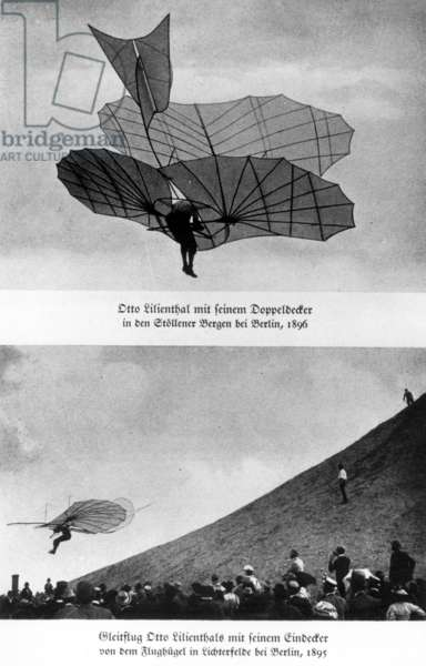 Otto Lilienthal attempting flight (b/w photo)
