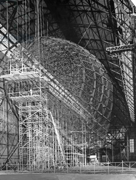 Zeppelin LZ 129 'Hindenburg' under construction (b/w photo)
