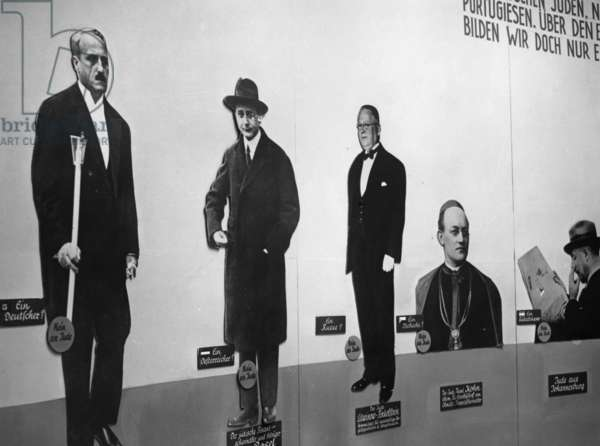 "A wall at the exhibition ""The Eternal Jew"", 1938 (b/w photo)"