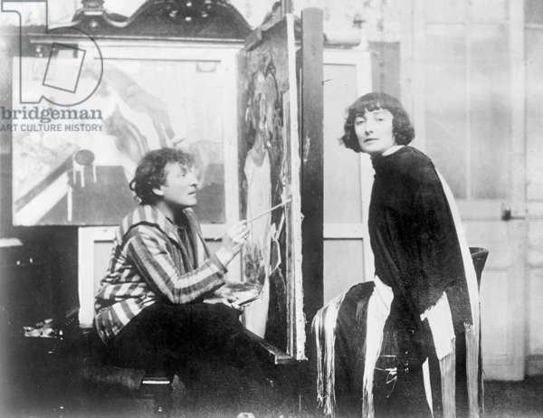 Marc Chagall with his wife Bella, 1926 (b/w photo)