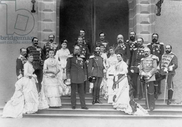 Emperor Wilhelm I with members of higher nobility, 1883 (b/w photo)