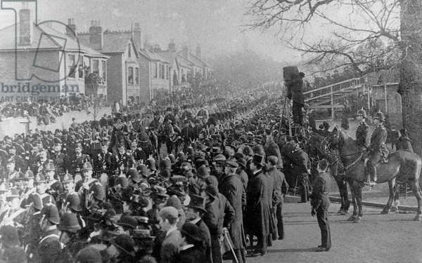 Funeral procession for Queen Victoria, Cowes, 1901 (b/w photo)