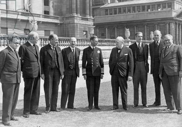 King George VI with Prime Minister Winston Churchill and his war cabinet, 1944 (b/w photo)
