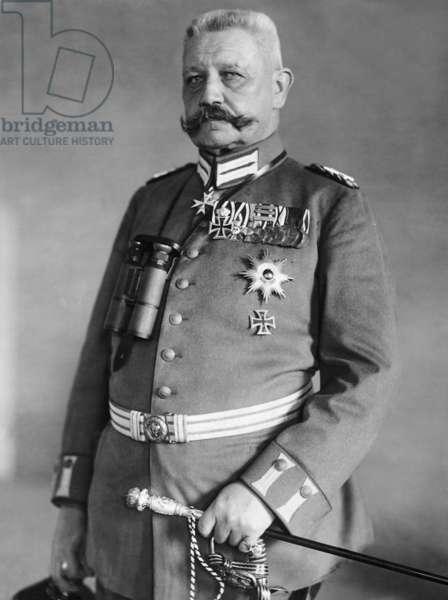 Paul von Hindenburg with medals and field marshal's baton, 1915 (b/w photo)