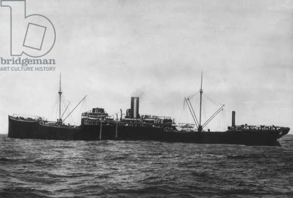 German auxiliary ship SMS 'Wolf', 1918 (b/w photo)