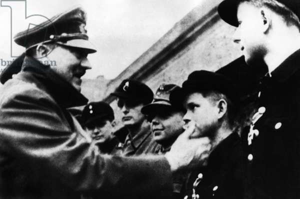 Adolf Hitler with members of the Hitler Youth (b/w photo)