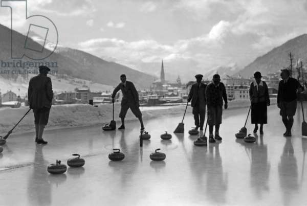 Curling in Davos, 1920s (b/w photo)