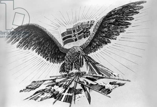 Propaganda poster depicting the German eagle tearing the allied flags to shreds (litho)