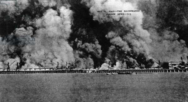 Japanese attack on Burma: May 2, 1942, from 'The Illustrated London News', 1942 (b/w photo)