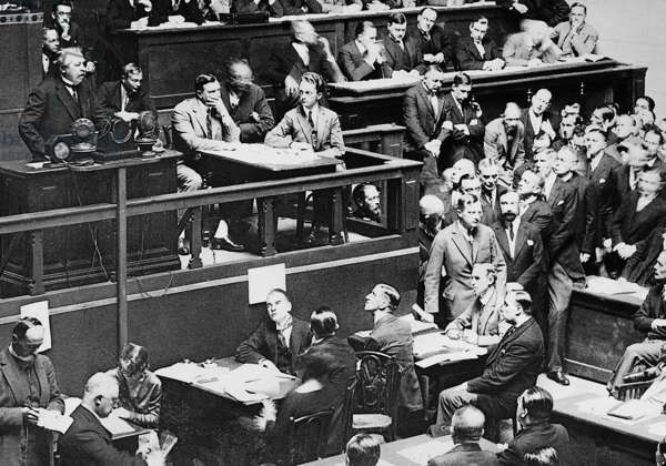 Aristide Briand during a speech before the League of Nations, 1926 (b/w photo)