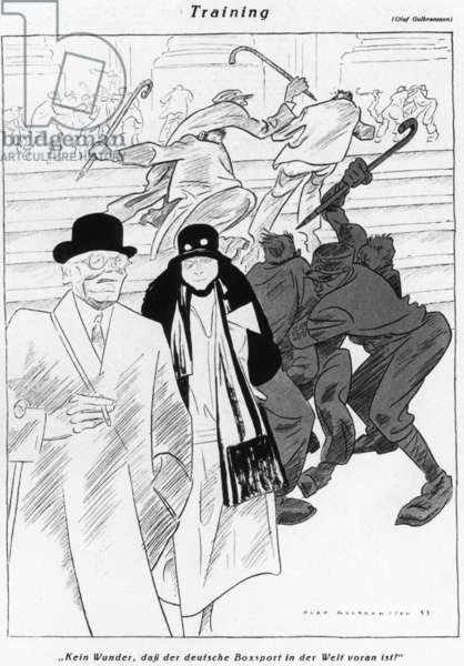 Caricature of the goon squad of the Sturmabteilung, 1933 (b/w photo)