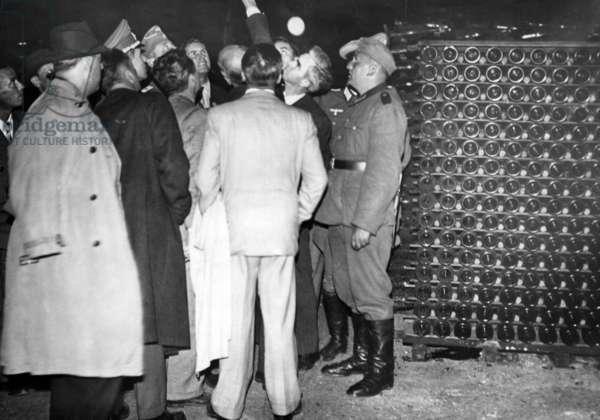 Wine cellar in Reims, 1940 (b/w photo)