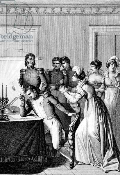 French empress Josephine (Josephine de Beauharnais) begging to her husband, emperor Napoleon 1st the pardon for Duke of Enghien implicated in the plot led by Cadoudal (1803), engraving