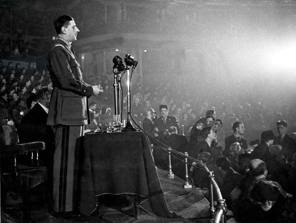 General Charles de Gaulle at the Royal Albert Hall in London on november 28, 1942 : speech to cheer National Unity and overseas territories rallying the FFI