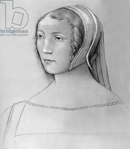 Francoise de Foix (1495-1537) countess of Chateaubriand, favourite of French king Francois 1st from 1518 to 1528, drawing