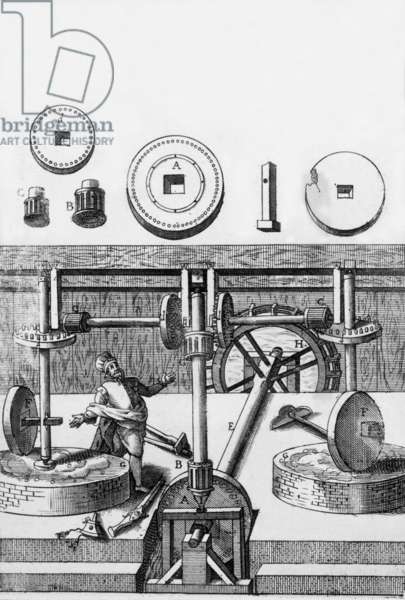 machine to make gunpowder, engraving from Encyclopedia by Diderot and d'Alembert 1751-1772
