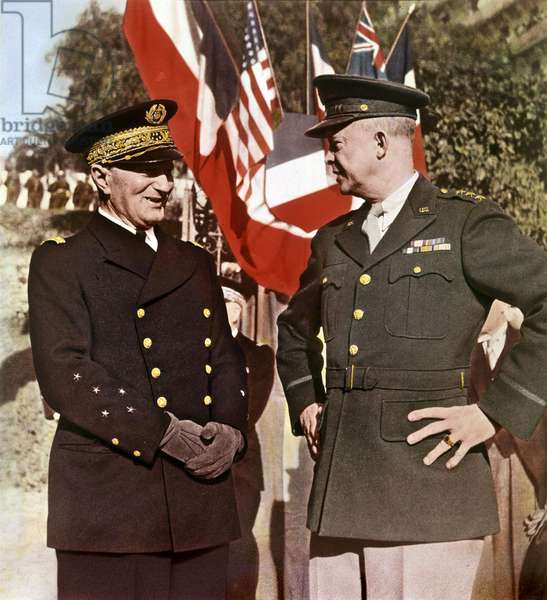 French admiral Francois Darlan and General Dwight Eisenhower in Algeria on december 2, 1942