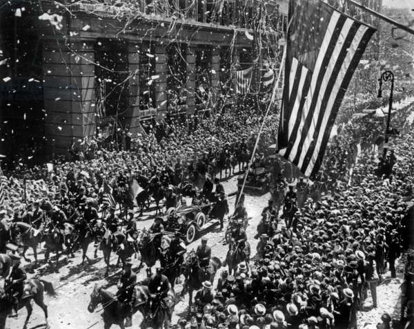 American aviator Charles Lindbergh during ticker-tape parade in New York after his trans Atlantic flight on june 13, 1927