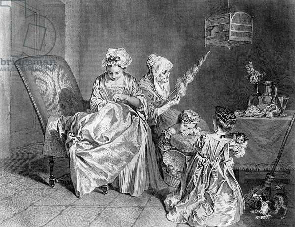 Occupation of women along life, engraving after Jean-Antoine Watteau, c. 1710