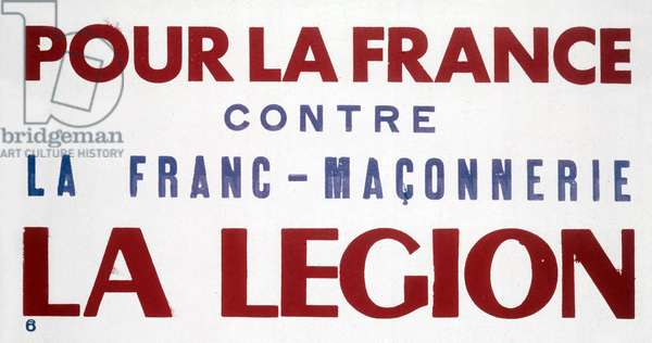 French propaganda poster of Vichy government for Legion against Freemasonry c. 1941