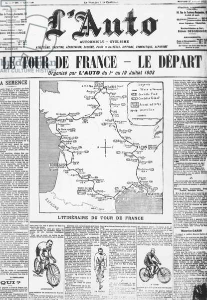 """Frontpage of French paper """"L'auto"""" with map of itinerary of 1st Tour de France 1903"""