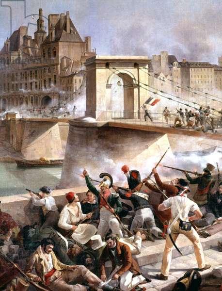 Arcole bridge, Capture of Paris town hall on July 28, 1830, detail (oil on canvas)