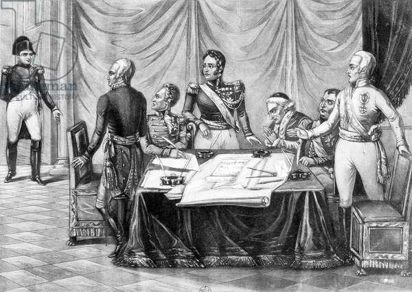 The Congress of Vienna, 1814-1815 : French emperor Napoleon 1st returned from Elba interrupting the congress, engraving